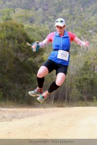 Ruth having a ball on the trails during the Glasshouse 100